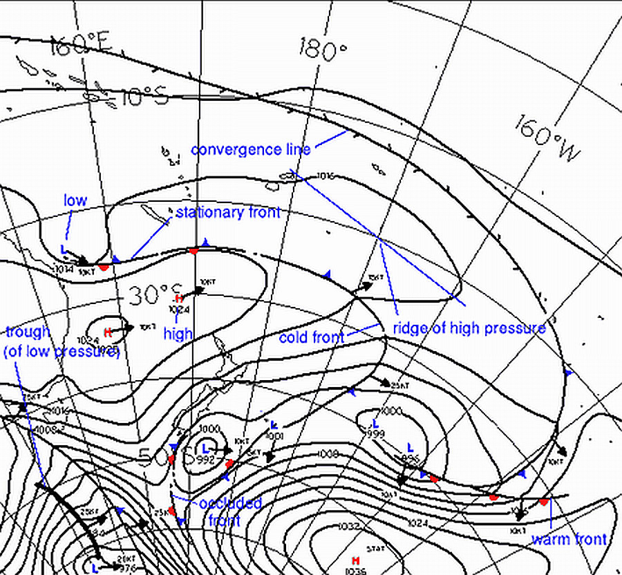 How to Read Weather Maps » About MetService How To Read A Weather Map on current surface weather map, weather pressure map, weather in january temperature map, us severe weather map, weather station model map, cnn weather map,